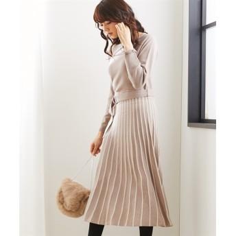 配色プリーツスカート風ニットワンピース(ベルト付) (ワンピース)Dress, 衣裙, 連衣裙