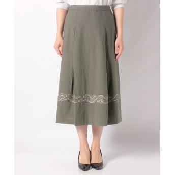 (CECI OU CELA/セシオセラ)【セットアップ対応商品】タイプライター刺繍 スカート/レディース カーキ