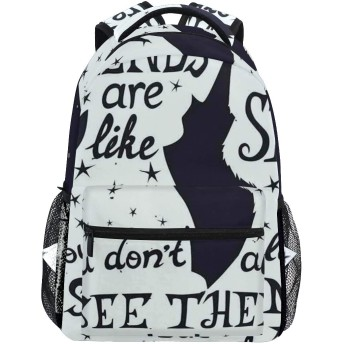 NR 新しい軽量おしゃれ学校バックパック友人は、宇宙をテーマにした背景にペットのシルエットで星の引用のようです旅行ハイキングキャンプバッグ多機能 遠足 おしゃれ
