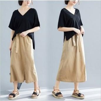 セットアップ レデイース スカート 2点セット 春夏 ブラウス 半袖 綿麻混 ロング丈スカート スリット おしゃれ 20代 30代 40代 大きいサ