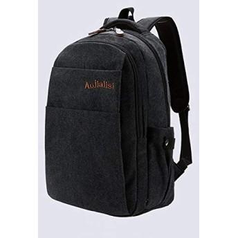 ハンドバッグ HYFレトロなキャンバスダブル肩スクールバッグ旅行Backpackageバッグ(ブラック) (色 : Black)