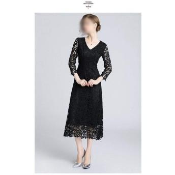 ブラックLサイズVネックレースロングドレスフックフラワー透かしレースドレス (Color : Black, Size : XL)