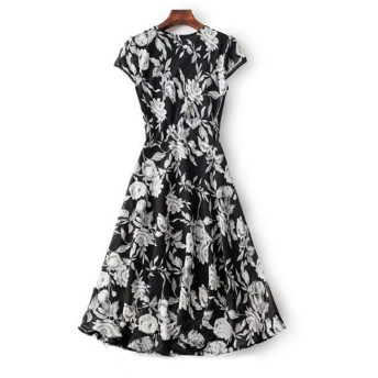 女性のカジュアルな花柄プリントシフォンオーバーニーロングシフォンドレスサマードレス (Color : Black, Size : XL)
