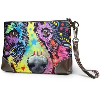 バッグ カラフルな絵犬 クラッチバッグ セカンドバッグ 本革 人気 カジュアル 軽量 大容量 高級感 薄い 財布 結婚式 披露宴 フォーマルバッグ