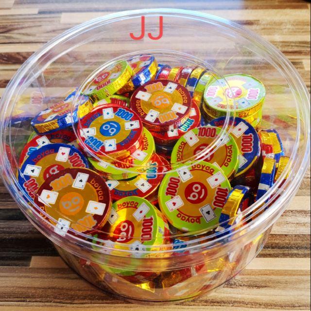 籌碼巧克力片-賭場籌碼造型巧克力盒裝-1公斤裝-批發糖果團購-春節糖果