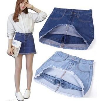 デニムスカート スカート ハーフスカート ショートスカート フレアスカート ブルー ミニスカート プリーツスカート ボトムス