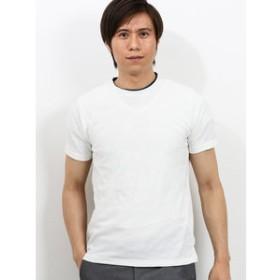 【m.f.editorial:トップス】ダイヤジャガード2重衿クルーネック半袖Tシャツ