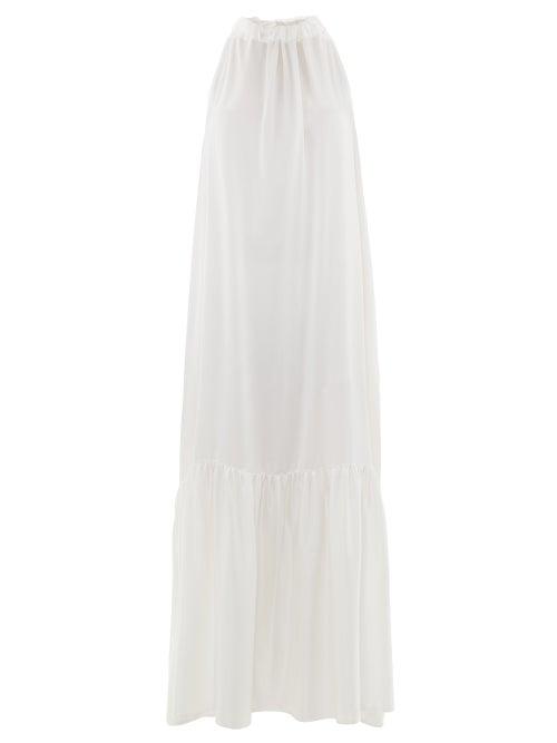 Asceno - Ibiza Silk-charmeuse Maxi Dress - Womens - White