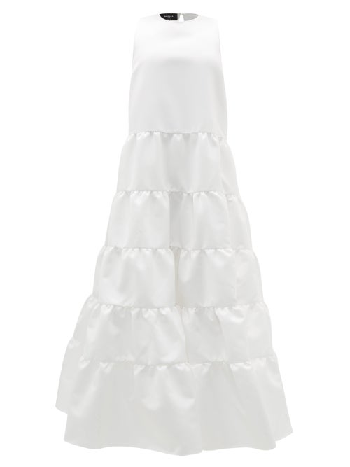 Rochas - Duchess-satin Tiered Gown - Womens - Ivory