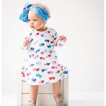 ワンピースTシャツワンピース子供服女の子キッズ服長袖膝丈ハート柄ハートラウンドネック子ども子供キッズベビー可愛いかわいい