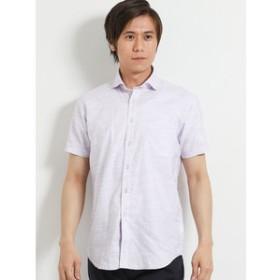 【TAKA-Q:トップス】ワンウォッシュスラブ無地ワイドカラー半袖シャツ