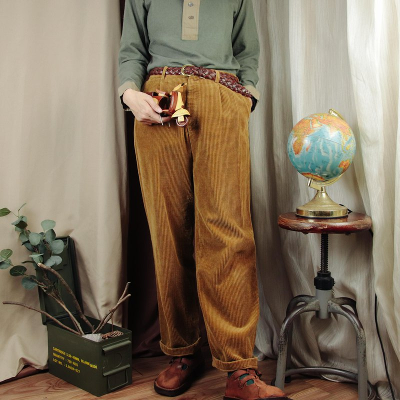 Polo燈芯絨長褲004,土黃色 30腰 棉質 長褲【Tsubasa.Y 古著屋】