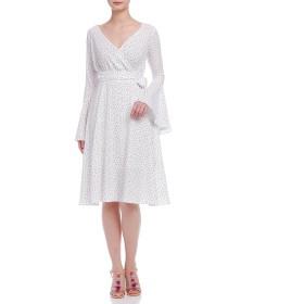 【70%OFF】プリント フレアカフ ラップデザインドレス ホワイト s