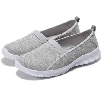 [HUMBGO] スリッポン レディース メンズ デッキシューズ お年寄り リハビリ 介護靴 ライトグレー EU42 (26cm) #C-LG42