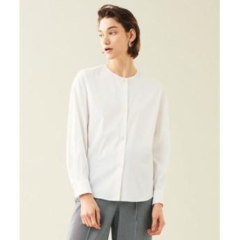 TOMORROWLAND/トゥモローランド ストレッチブロード ノーカラーシャツ 11 ホワイト 36(9号)