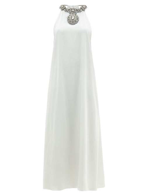 Christopher Kane - Crystal-embellished Draped Satin Dress - Womens - White