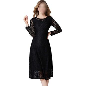 女性のドレス長袖クルーネックレース中空ドレス (Color : Black, Size : XL)