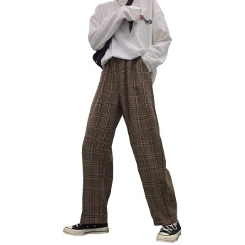 PuHao(プハオ) メンズ ワイドパンツ チェック柄 ロングパンツ 春 秋 ファッション カジュアルパンツ ストレートパンツ ファッションチェックパンツ 通学 原宿系 韓国ファッションチェックパンツ (カーキ, XL)