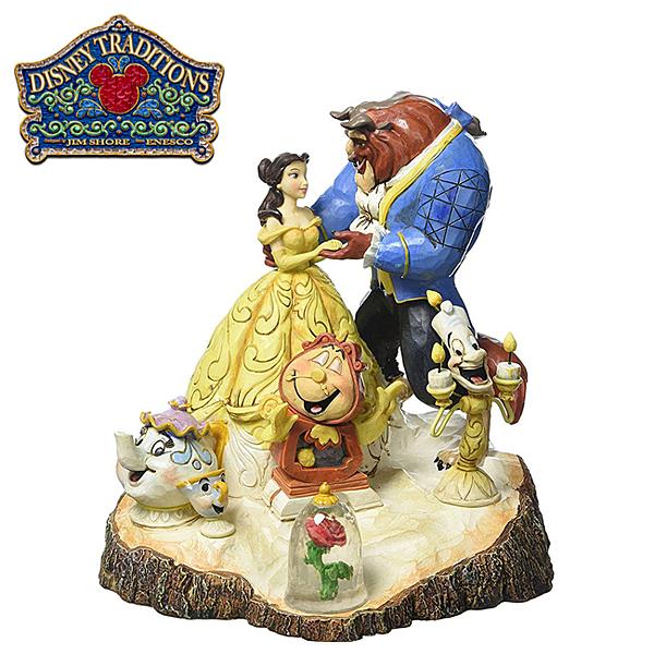 【正版授權】Enesco 美女與野獸 童話主題 塑像 公仔 精品雕塑 貝兒公主 迪士尼 Disney - 522700
