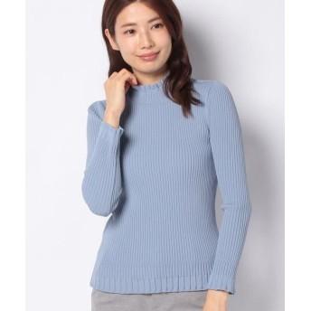 LAPINE BLANCHE/ラピーヌ ブランシュ リブ編み ハイネックセーター ブルー 40
