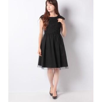 MISS J/ミス ジェイ レース×タフタ ドレス ブラックA 40