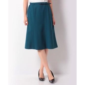 LAPINE BLANCHE/ラピーヌ ブランシュ ベルト付きスカート/ウールピーチジョーゼット グリーン 40