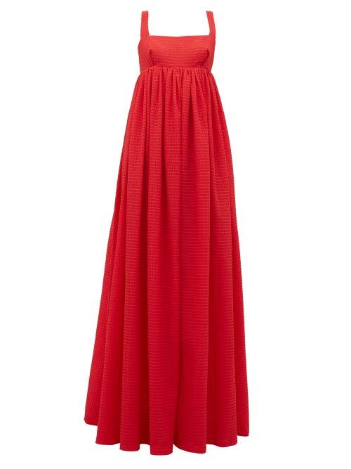 Emilia Wickstead - Evelina Square-neck Seersucker-organza Maxi Dress - Womens - Red