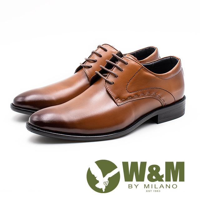 W&M 真皮縫線造型綁帶皮鞋 男鞋 -棕(另有黑)