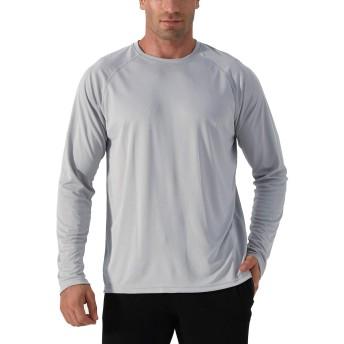 TACVASEN ラッシュガード メンズ 長袖 シャツ スポーツウェア 無地 ジョギング 四季 伸縮性 Tシャツ 吸汗速乾 クルーネック 紫外線防止 グレー 3XL