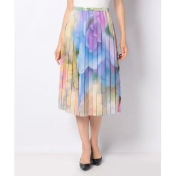 LAPINE BLANCHE/ラピーヌ ブランシュ フラワープリント プリーツスカート グリーン 38