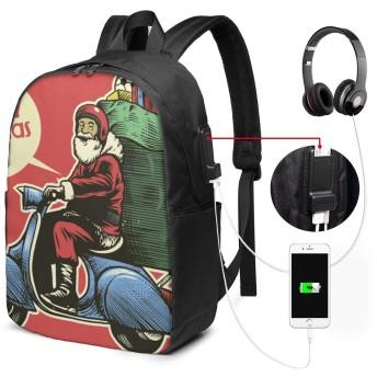 サンタクロースメリークリスマス リュック バックパック 大容量 PC リュックサック 軽量 メンズ レディース 兼用 多機能 バッグ 通勤 修学 学生 旅行 アウトドア USBポート&イヤホンポート搭載 鞄