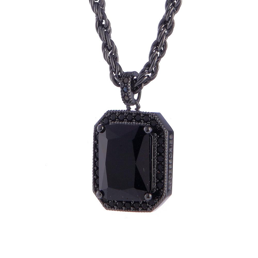 SOLO Zircon Necklace 梯切鋯石項鍊 時尚潮流方鋯項鍊 黑金 藤原本舖