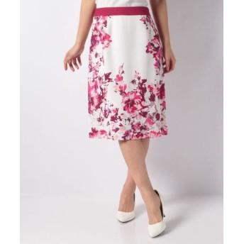 LAPINE BLANCHE/ラピーヌ ブランシュ 花柄パネルプリントセミタイトスカート ピンク 40