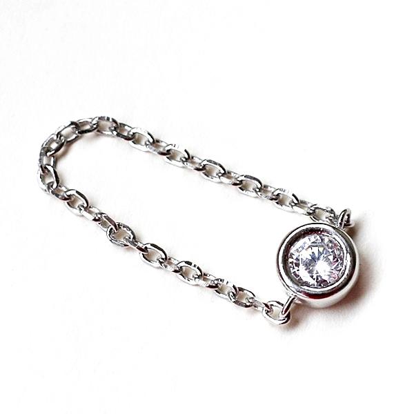 925純銀 單鑽天然白水晶 軟鏈戒指-銀 防抗過敏 不退色