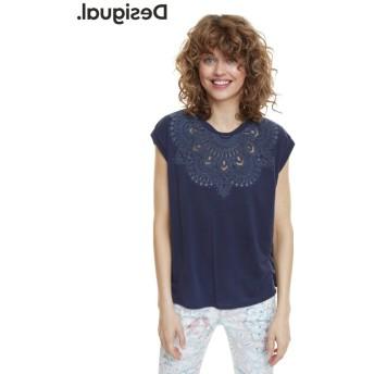 デシグアル Tシャツ半袖 BUDAPEST レディース ブルー系 L 【Desigual】