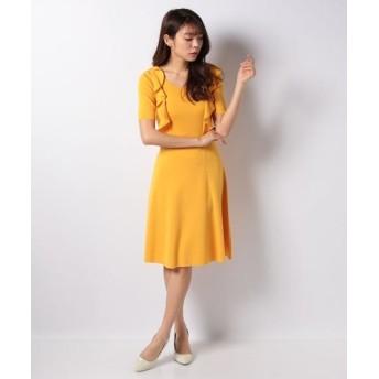 MISS J/ミス ジェイ ハノン フリル ニットドレス オレンジ 38