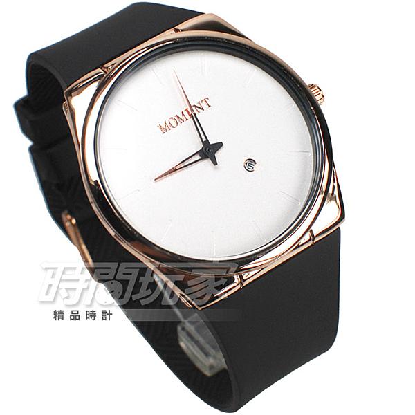 MOMENT舜時 日本機蕊 簡約時刻 日期顯示窗 橡膠錶帶 男錶/中性錶 玫瑰金x白 MO8076玫白