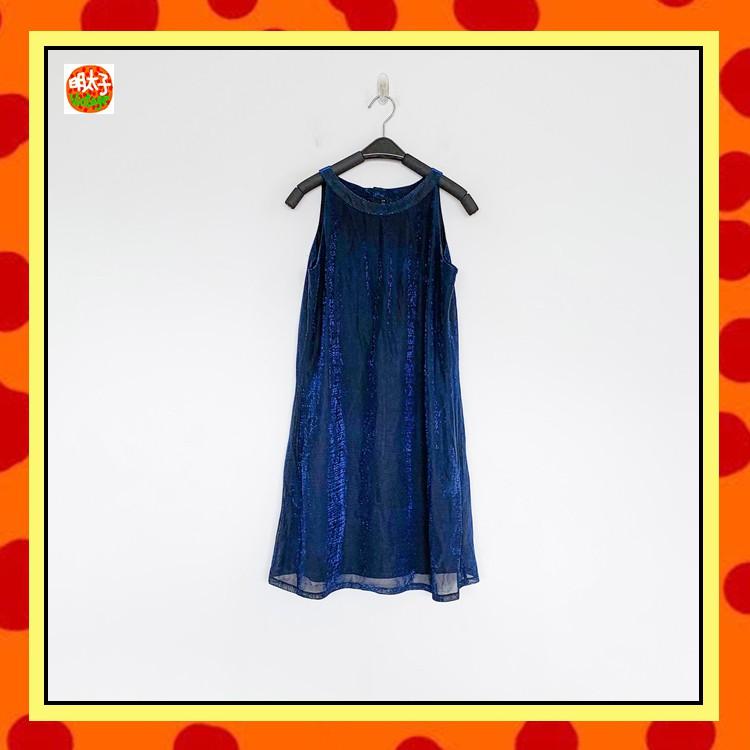 二手 藍黑色 閃耀光澤 削肩 彈性 洋裝 明太子 B1006