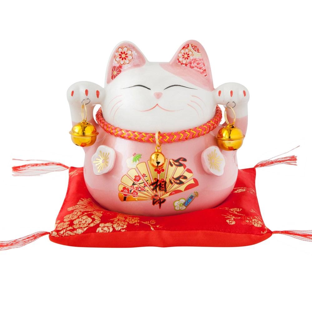 六福臨門4.5吋招財貓-粉 2入