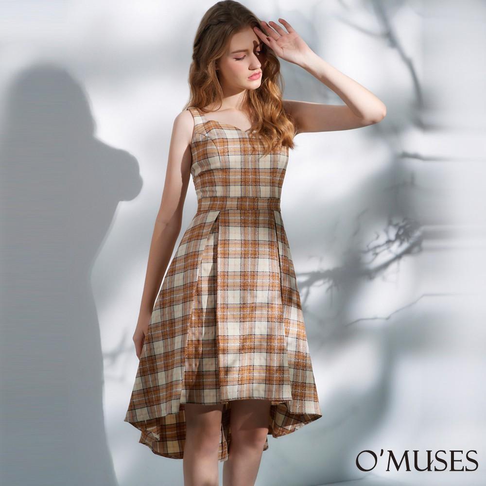 【OMUSES】心型領格紋前短後長洋裝28-23165