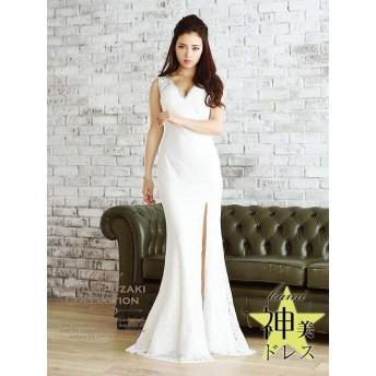 (リューユ)Ryuyu キャバ ドレス キャバドレス キャバクラ ロングドレス パーティードレス Ryuyu レースキャバロングドレス マーメイドロングドレス 501741 M(130) ホワイト(130)