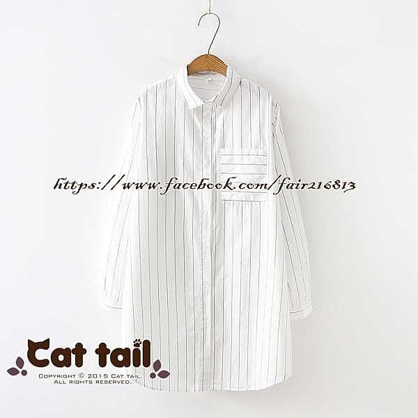 現 〃《貓尾巴》TS-01818 百搭棉款純色豎條紋長袖襯衫(森林系 日系 棉麻 文青 清新)