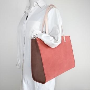 ワイドトートバッグ【床革】赤 ハードタイプ A4ちょうど入るサイズ ギフト 新生活 春色新作2020 春 新調 お祝い