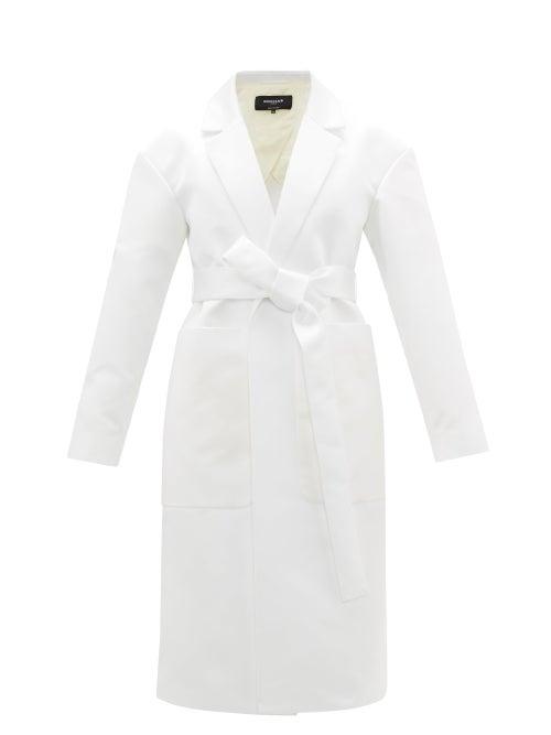 Rochas - Belted Duchess-satin Coat - Womens - Ivory