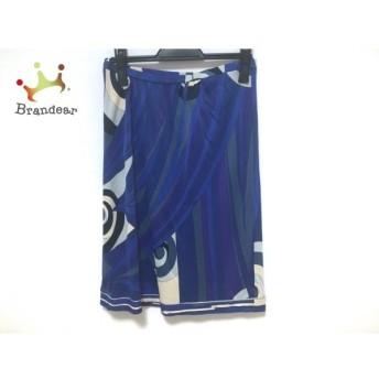 エミリオプッチ スカート サイズ38 S レディース ブルー×ネイビー×マルチ ウエストゴム 新着 20200125
