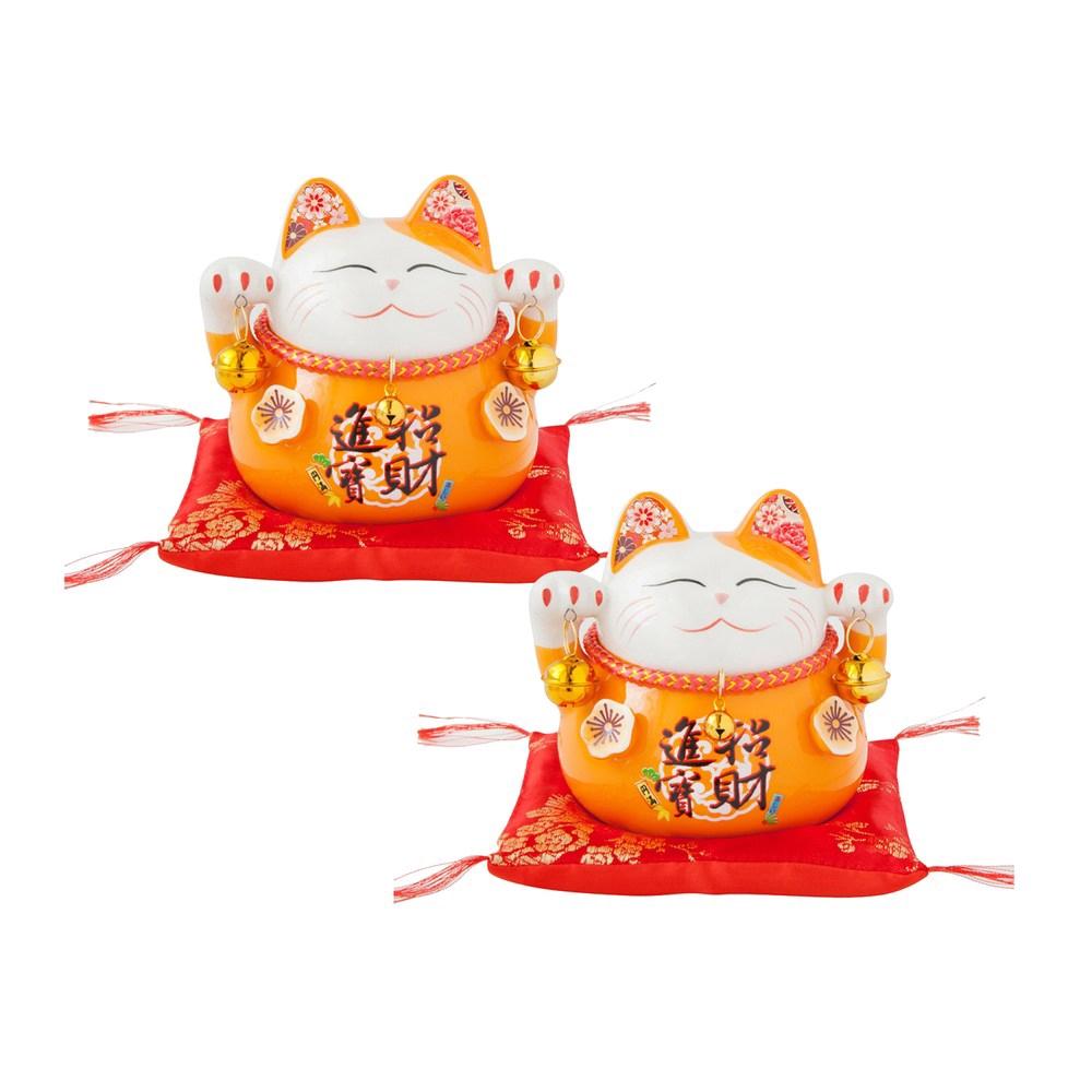 六福臨門4.5吋招財貓-橘 2入