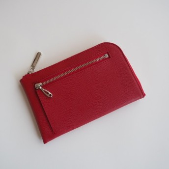 薄くて軽いコンパクトな財布 10枚カードポケット カラフルレッド スクイーズ