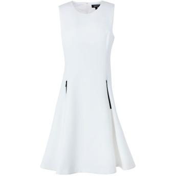《セール開催中》DKNY レディース ミニワンピース&ドレス アイボリー 2 ポリエステル 92% / ポリウレタン 8% S/L LEATHER ZIP POCKET DRESS