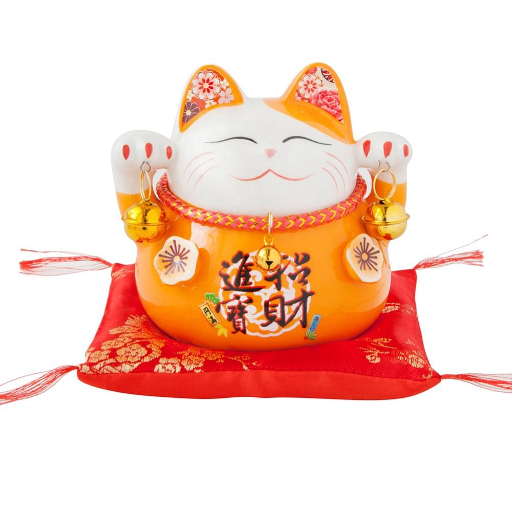 六福臨門 4.5吋 招財貓 橘色