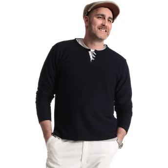 サカゼン PLEGGI 大きいサイズ メンズ パイルジャガード ヘンリーネック 長袖 Tシャツ ネイビー / 5L